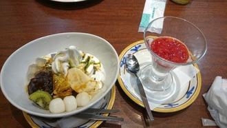 杏仁豆腐、抹茶餡蜜